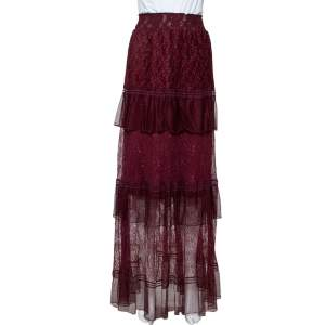 Just Cavalli Burgundy Lace Tiered Paneled Maxi Skirt M