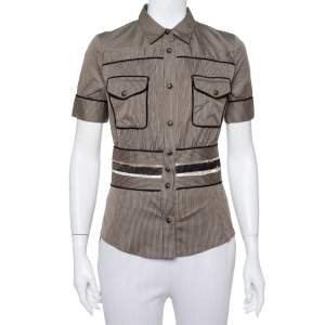 Just Cavalli Brown Striped Cotton Fitted Waist Detail Shirt S