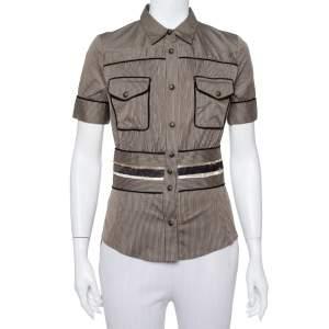 قميص جست كافالي قطن بني مخطط مجسم بوسط مزين مقاس صغير - سمول