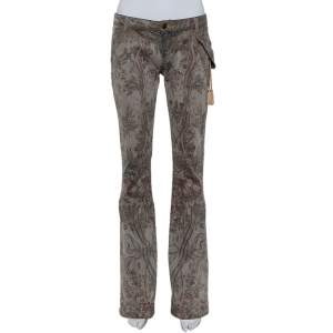 Just Cavalli Grey Floral Printed Denim Glitter Detail Bootcut Jeans M