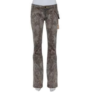 بنطلون جينز جاست كافالي بوتكت تفاصيل غليتر دنيم مطبوع زهور رمادي مقاس متوسط