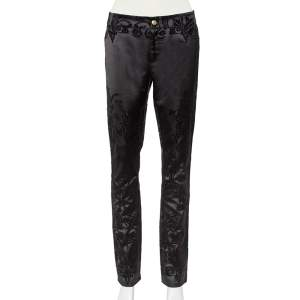 Just Cavalli Black Flocked Satin Tapered Leg Just Chic Jeggings L