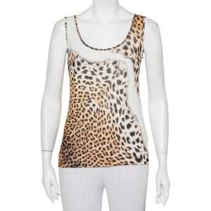 Just Cavalli Beige Animal Printed Knit Tank Top L