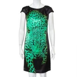 Just Cavalli Black Tiger Printed Silk Mini Dress S