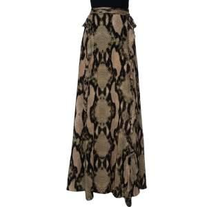 تنورة جست كافالي منفوشة ماكسي حرير مطبوع جلد ثعبان متعدد الألوان مقاس كبير (لارج)