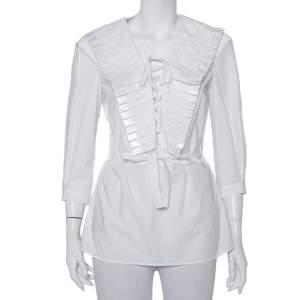 Just Cavalli White Cotton Lace up Waist Tie Detail Top S