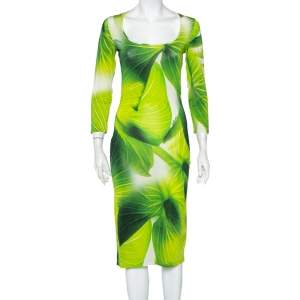Just Cavalli Green Leaf Printed Knit Scoop Neck Sheath Dress M