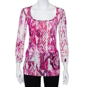 Just Cavalli Pink Animal Printed Knit Scoop Neck T-Shirt S