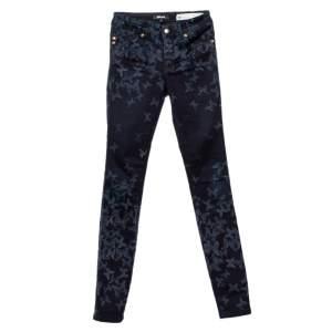 Just Cavalli Just Luxury Navy Blue Butterfly Printed Denim Skinny Leg Jeans S