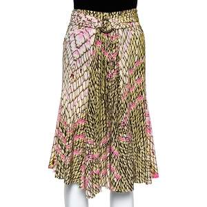 Just Cavalli Multicolor Printed Jersey Ruched Waist Detail Flared Skirt M