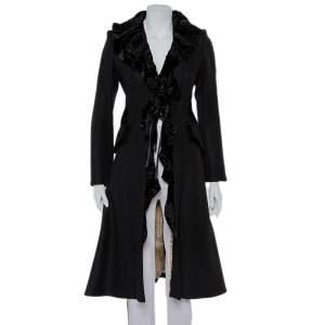 Just Cavalli Black Wool Velvet Ruffle Detail Coat S
