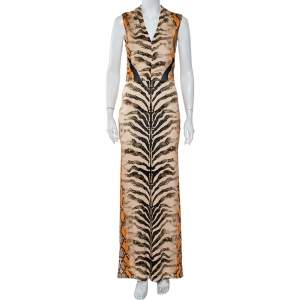 Just Cavalli Multicolor Snakeskin Printed Knit Sleeveless Maxi Dress M