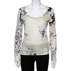 Just Cavalli Multicolor Printed Knit Scoop Neck T-Shirt L