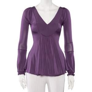 Just Cavalli Purple Jersey Plunge Neck Draped Top S