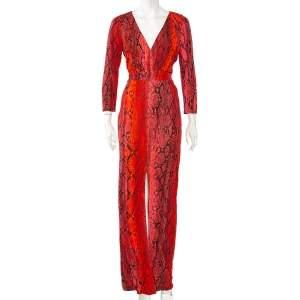 Just Cavalli Red Python Print Long Sleeve Cutout Back Detail Maxi Dress M