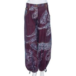 Just Cavalli Purple Painted Denim Flared Leg Jeans M