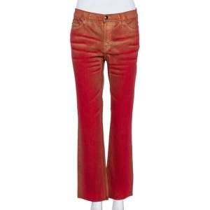 Just Cavalli Red & Gold Denim Straight Leg Asymmetric Hem Jeans M