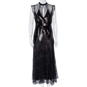 فستان ماكسي جست كافالي واسع دانتيل مزخرف بالترتر أسود مقاس متوسط - ميديوم