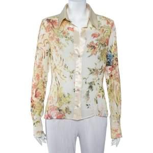 Just Cavalli Cream Floral Printed Silk & Satin Trim Button Front Shirt L