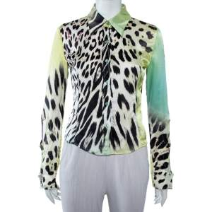Just Cavalli Multicolor Multiprinted Silk Button Front Shirt M