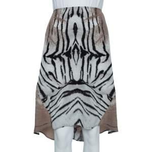 Just Cavalli Beige Animal Printed Georgette Asymmetric Hem Mini Skirt M