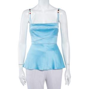 Just Cavalli Blue Satin Beaded Strap Detail Camisole M