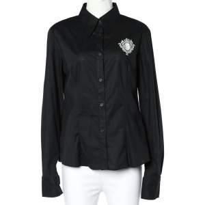 قميص جاست كافالي كم طويل قطن طباعة شعار أسود مقاس كبير