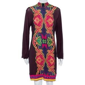 Just Cavalli Brown Printed Wool Knit Shift Dress L