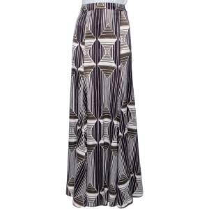 Just Cavalli Multicolor Geometric Patterned Silk Flared Maxi Skirt L