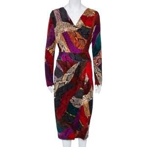 Just Cavalli Multicolor Animal Printed Jersey Faux Wrap Midi Dress  L