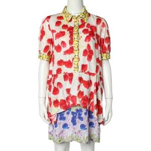 Just Cavalli Multicolor Floral Printed Cotton Layered Button Front Mini Dress M