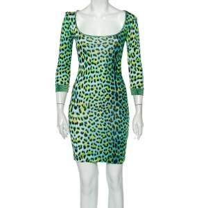 فستان ميني جست كافالي جيرسي طبعة فهد نيون رقبة واسعة مقاس متوسط - ميديوم