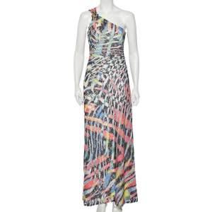 فستان جست كافالي ماكسي تول مطبوع متعدد الألوان بكتف واحد مقاس متوسط - ميديوم