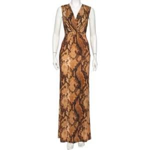 Just Cavalli Brown Snakeskin Printed Jersey Faux Wrap Sleeveless Maxi Dress M
