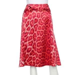 Just Cavalli Pink Animal Printed Satin Draped Trim Skirt L