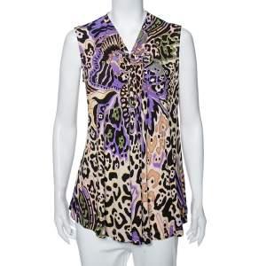 Just Cavalli Multicolored Printed Silk Knit Sleeveless Top M