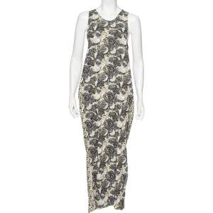 Just Cavalli Multicolored Abstract Printed Chiffon Sleeveless Maxi Dress L