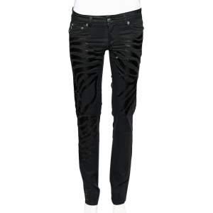 Just Cavalli Black Denim Crystal Embellished Slim Fit Jeans M
