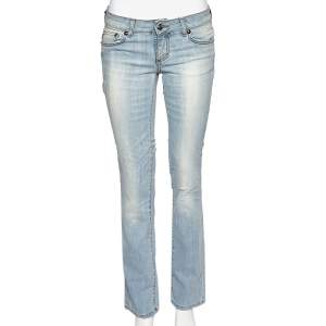 Just Cavalli Blue Denim Distressed Straight Fit Jeans M