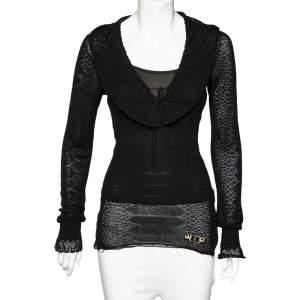 Just Cavalli Black Perforated Knit Top M