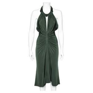 Just Cavalli Forest Green Jersey Ruched Halter Neck Midi Dress S