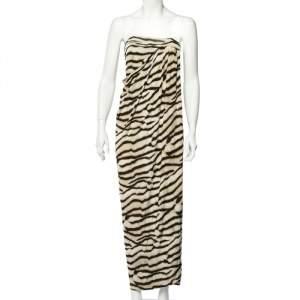 Just Cavalli Beige Animal Striped Jersey Draped Strapless Dress S