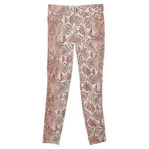 Just Cavalli Pink Snakeskin Printed Cotton Skinny Leg Trousers S