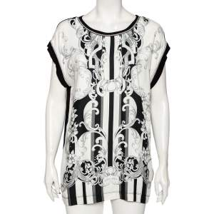 Just Cavalli Black Abstract Printed Knit Paneled Chain Detail T-Shirt L