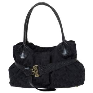 Just Cavalli Black Fabric and Croc Embossed Leather Belted Shoulder Bag