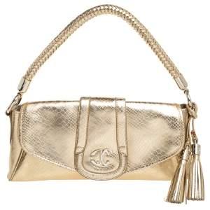 Just Cavalli Metallic Gold Leather Shoulder Bag
