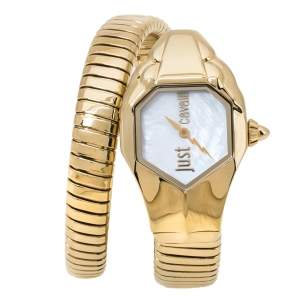 Just Cavalli Mother Of Pearl Yellow Gold Plated Stainless Steel Serpent JC1L001M0026 Women's Wristwatch 22 mm