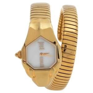 ساعة يد نسائية ستايلايزد سنيك ستانلس ستيل مطلي ذهب أصفر صدف 22 مم