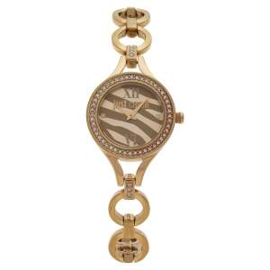 Just Cavalli Yellow Gold Tone Stainless Steel Crystal Embellished 7253603501 Women's Wristwatch 30 mm
