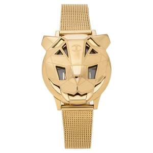 Just Cavalli White Mother Of Pearl Yellow Gold Tone Stainless Steel Just Tiger 7251561502 Women's Wristwatch 34 mm
